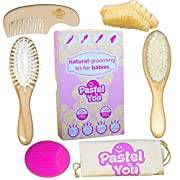 6 Piece Gentle Natural Wood Hair & Nails Brushing Set -Baby Grooming Kit - nail cleaning, detangling & hair brush, bath brush, comb, cradle cap solution + cotton storage bag by Pastel to You