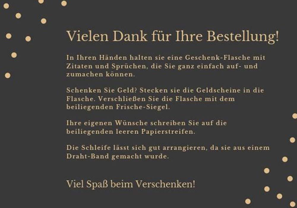 Geldgeschenke Kreativ Und Originell Verpacken Große Flasche Mit Sprüchen Und Zitaten Zur Hochzeit Zum Geburtstag Dankeschön Geschenk