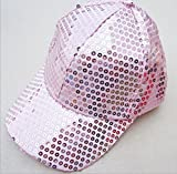 F-eshion Universal sequined cap street dance beaded hat stage show hat (Pink)