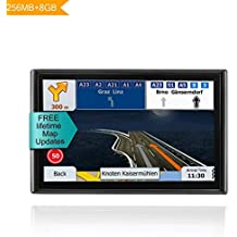 [Patrocinado] LONGRUF 7-inch GPS Navigation System with Built-in 8G Memory, Voice Turn Direction car GPS Navigation car Lifetime map Free Update