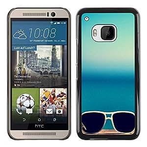 Be Good Phone Accessory // Dura Cáscara cubierta Protectora Caso Carcasa Funda de Protección para HTC One M9 // Sunglasses Summer Sea Blue Beach