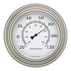 Bjerg Instruments 8 Satin Nickel Finish Decorative Indoor/Outdoor Thermometer