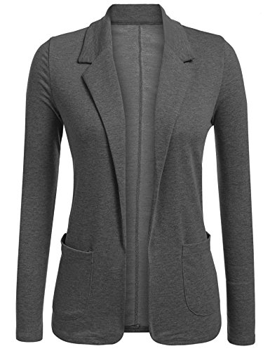(Concep Womens Open Front Blazer Long Sleeve Slim Fit Work Office Cardigan Jacket Grey )