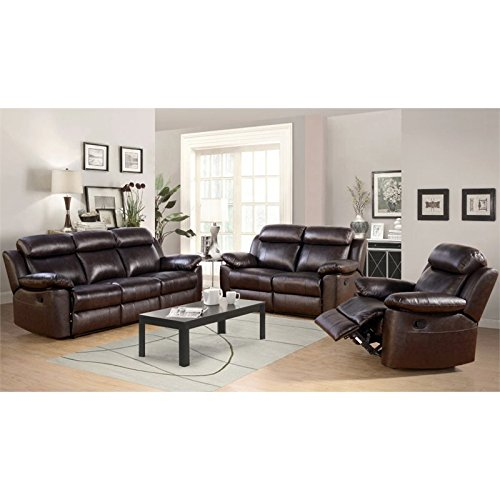 Abbyson Brody Three Piece Leather Reclining Set in Brown