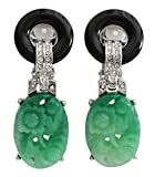 Kenneth Jay Lane Carved Green Floral Black Ring Clear Crystal Clip On Earrings 7608EBJ