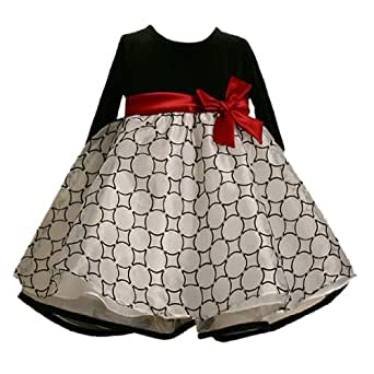 Bonnie Jean Baby/Infant Girls 12M-24M BLACK WHITE GLITTER FLOCK CIRCLE Special Occasion Christmas Holiday Pageant Party Dress-24M BNJ-4632X-X14632
