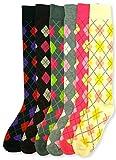 J.Ann- Mamia 6 Pair/Pack Knee High Socks Argyle Design (All 6 colors)
