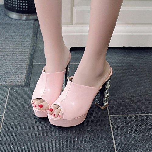 Charme Voet Dames Zomer Platform Hoge Hak Peep Toe Slipper Sandaal Roze