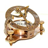 "3"" Antique Brass Sundial Nautical Compass/Reproduction Internal Magnetic Compass"