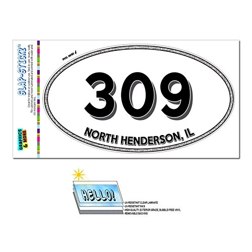 Graphics and More Area Code Euro Oval Window Laminated Sticker 309 Illinois IL Mackinaw - Sparland - North - North 309
