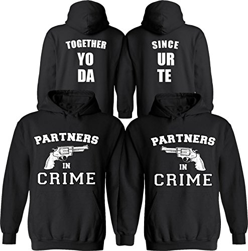 Partners in Crime [Personalized] Together Since [Your Date] - Matching Couple Hoodies - His and Her Love Sweaters by Couples Apparel