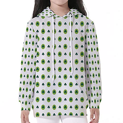 - Cotton Pullover Hoodies,Floral,Clover Flowers Green Dots Cultural Irish St. Patr