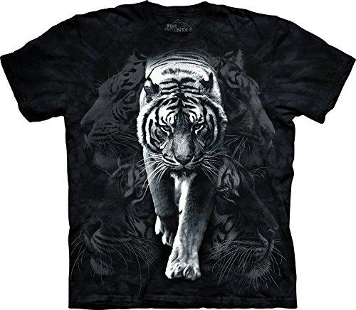 The Mountain Men's White Tiger Stalk T-Shirt Black - White T-shirt Mart