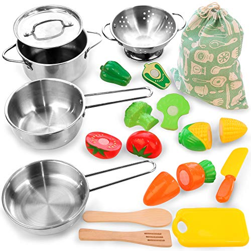 KRATO Kids Pots and Pans Toys with Cutting Play Food - Kitchen Playset Pretend Cookware Big Stainless Steel Cooking Utensils Development for Toddlers & Children Boys Girls Ages 3 Years -