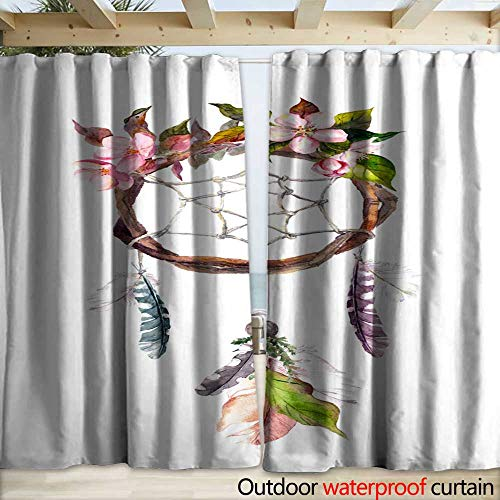 (warmfamily Blackout Curtain Dream Catcher with Feathers and Flowers Watercolor Vintage Boho Style Drapery W120 x L108)