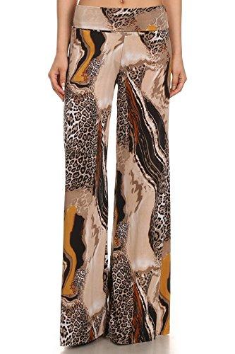 Yelete 827PT1033 (Milky Way Cheetah, Large) Printed Palazzo Pants