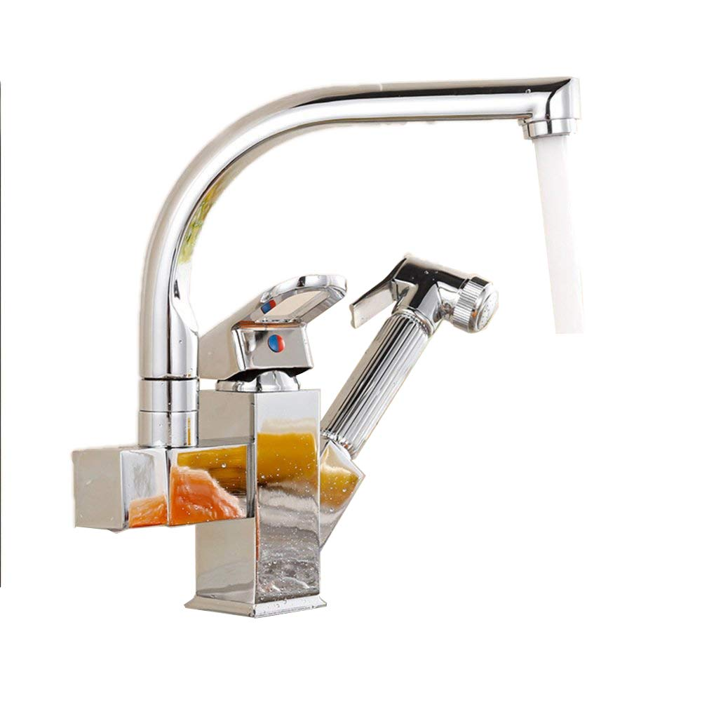 LOSKDMMJIO Faucet- Full Copper Kitchen Faucet Pull-Out Hot And Cold Sink Faucet Drawing Vegetables Basin Sink Faucet