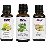 3-Pack Variety of NOW Essential Oils: Refresh Yourself - Lemon, Clary Sage, Ginger
