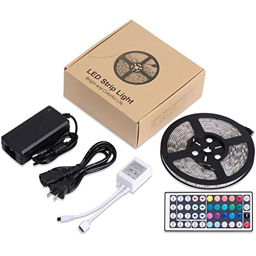 Sanwo 16.5ft Flexible RGB LED Strip Lights, Waterproof IP65, 300 Unites LEDs, 5050 SMD LED Ribbon with 12V Power Supply Adapter + 44Key Remote Controller (5050-RGB) by Sanwo (Image #8)