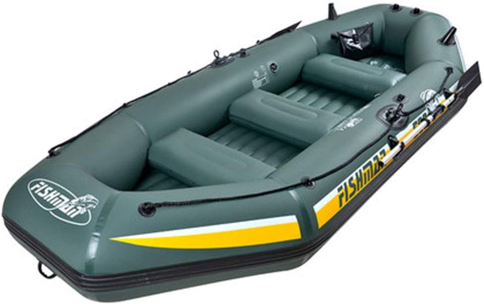 WLLP 5-Person Inflatable Boat Set with Aluminum Oars and High Output Air Pump, Speed Boat Fishing Boat 328 144 46CM