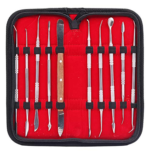 NIUPIKA Steel Wax Carver Clay Pottery Sculpture Tools Carving Tool Set Dental Lab Equipment ()