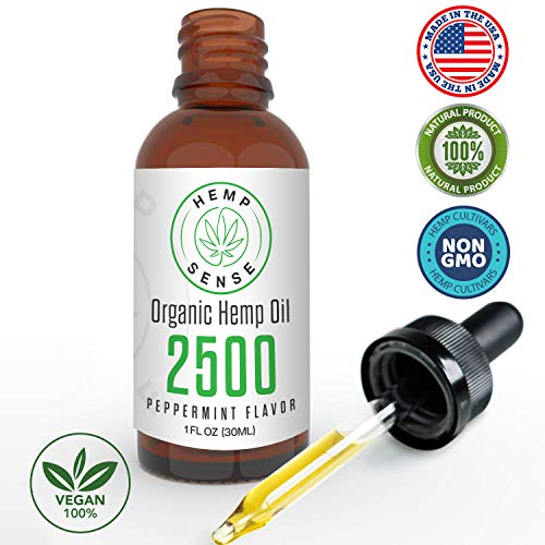 Organic Hemp Oil Extract - Peppermint Flavour - Natural Pains Relief and Relaxation - Sans CBD THC Cannabidiol - Helps with Arthritis and Joint Pain