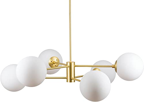 Caserti Mid Century Modern 6 Light Chandelier Satin Brass Pendant Lighting LL-CH319-3SB