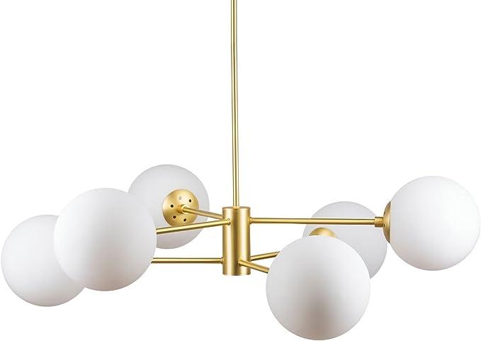 Caserti Mid Century Modern 6 Light Chandelier Satin Brass Pendant