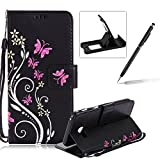 Strap Case for Samsung Galaxy A5 2017,Smart Leather Cover for Samsung Galaxy A5 2017,Herzzer Stylish Butterfly Flower Design Wallet Folio Case Full Body PU Leather Protective Stand Cover with Inner Soft Silicone Shell for Samsung Galaxy A5 2017 + 1 x Free Black Cellphone Kickstand + 1 x Free Black Stylus Pen - Black