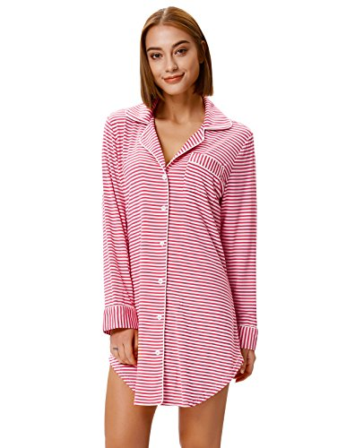 Women Striped Sleep Shirts Dress Button Front Pajamas Plus Pink Stripe XXL - Pink Shirt Stripe