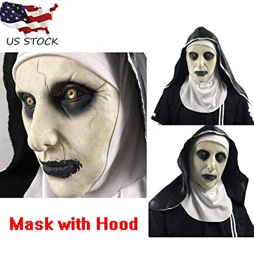 Cafele The Nun Mask Scary Halloween Party Costume Off-White