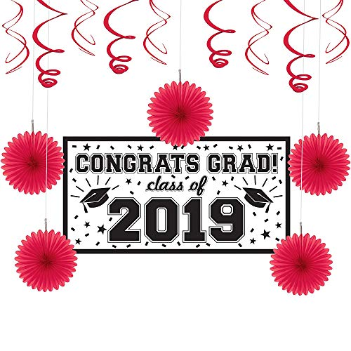 Party City Red Congrats Grad 2019 Graduation Basic Decorating Supplies with Banner, Paper Fans, and Swirls]()