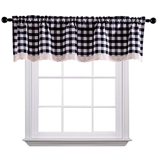 Gingham Curtain Valances for Kitchen Living Dining Room Cotton Blend Fit Window Curtain 58 x 15 inches Rod Pocket 1 Plaid Valance Black
