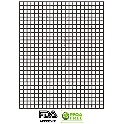- GRILL ABOVE BBQ Grill Mesh Mat, Non Stick BBQ Cooking Mat for Assisted Ovens/Charcoal/Gas/Electric Grill/Bake/Cooking, Reusable and Easy to Clean, FDA Approved - PFOA Free