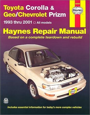 toyota corolla geo chevrolet prizm 1993 2001 hayne s automotive rh amazon com toyota corolla 2001 user manual pdf toyota corolla 2001 user manual pdf