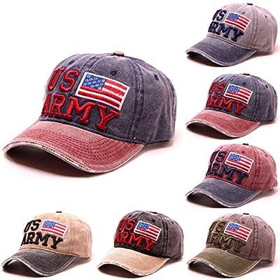 Unisex America Flag Vintage Stylish Embroidered Flower Adjustaable Denim Cotton Baseball Cap Casual Visor Classic Travel Hat