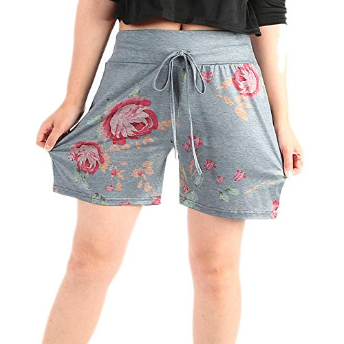 Women's Shorts Floral Print Drawstring Casual Loose Beach Hot Shots for Teen Girls Fashion Workout Sport Short Pants Grey