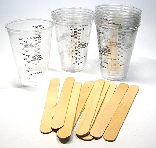 10 NSI 8oz Disposable Graduated Clear Plastic (PET) Cups and 10 6