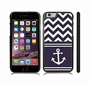 Case Cover For SamSung Galaxy S4 with Chevron Pattern Navy Blue/ White Stripe White Anchor Snap-on Cover, Hard Carrying Case (Black)