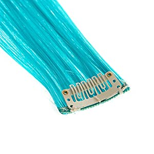 SWACC 12 Pcs Straight One Color Party Highlights Clip on in Hair Extensions Colored Hair Streak Synthetic Hairpieces (Teal Blue)