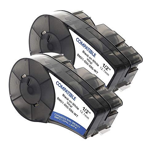 Samshion (M21-500-595-WT) Compatible Brady High Adhesion Vinyl Label Tape - Black on White Vinyl Film - Work with BMP21-PLUS, Brady BMP21-LAB - 0.5