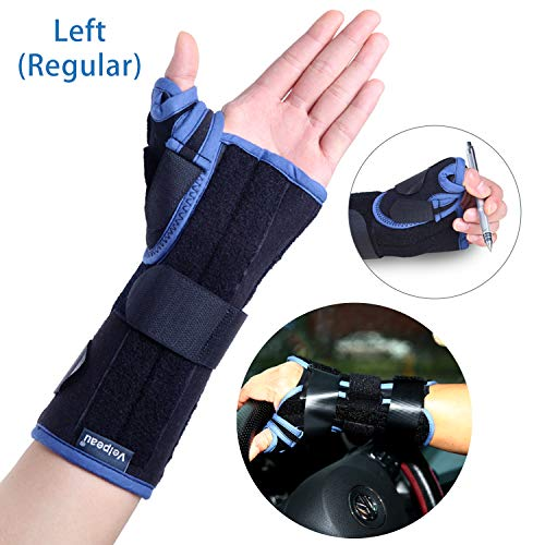 Velpeau Wrist Brace with Thumb Spica Splint Support for De Quervain's, Scaphoid Fracture, Sprain or Muscle Strain, Carpal Tunnel Relief, Injury Recovery for Men & Women (Regular, Left Hand - Medium)
