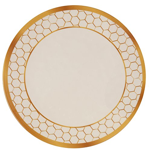 Comb Compass Set - Melange 36-Piece 100% Melamine Dinner Plate Set (Gold Honeycomb Collection ) | Shatter-Proof and Chip-Resistant Melamine Dinner Plates