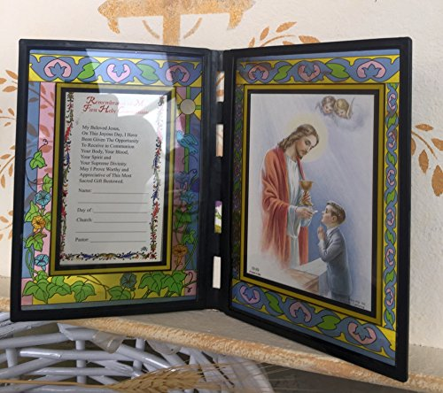 First Holy Communion Remembrance Frame Italian Stained Glass - Boy English ()