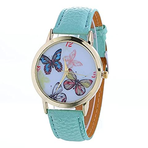 AMA(TM) Women Fashion Christmas Butterfly Pattern Leather Band Analog Quartz Vogue Wrist Watch Xmas Gifts (Light (Butterfly 7000)