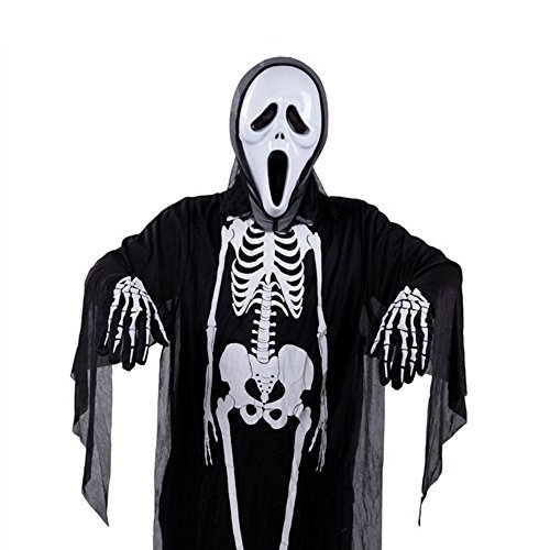 Halloween Novelty Black Skeleton Scary Bone Suit Costume for Adults And Kids