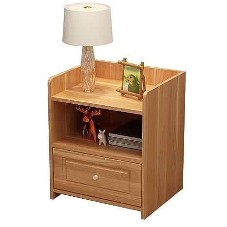 Amazon.com: HYXQYCBZ Mesita de noche con cajón, 2 estantes ...