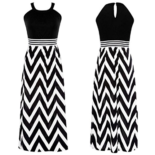 SCASTOE Women Summer Sleeveless Maxi Dress Boho Wave Striped Beach Evening Party Slim Dress