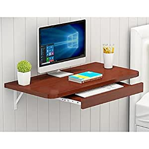 FEI Teng Household Folding Table Simple Space Saving Wall-Mounted Computer Desk Desktop Small Apartment Wall-Mounted Corner Wall Table Dining Table Side Table Optional Color ++ (Color : 2)