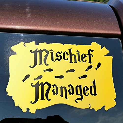 Signage Cafe Mischief Managed Gold Scroll - Vinyl Decal from Harry Potter. 5